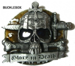 Glory in Death - Heavy Belt Buckle + display stand. Code AU8